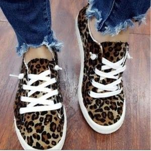 Shoes - Leopard lace up womens sneaker